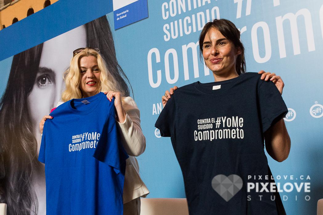 Ana Serradilla durante la conferencia de prensa de la campaña Contra el suicidio: Yo me comprometo, durante el Guanajuato International Film Festival 2016 en San Miguel de Allende y Guanajuato Capital, Mexico.